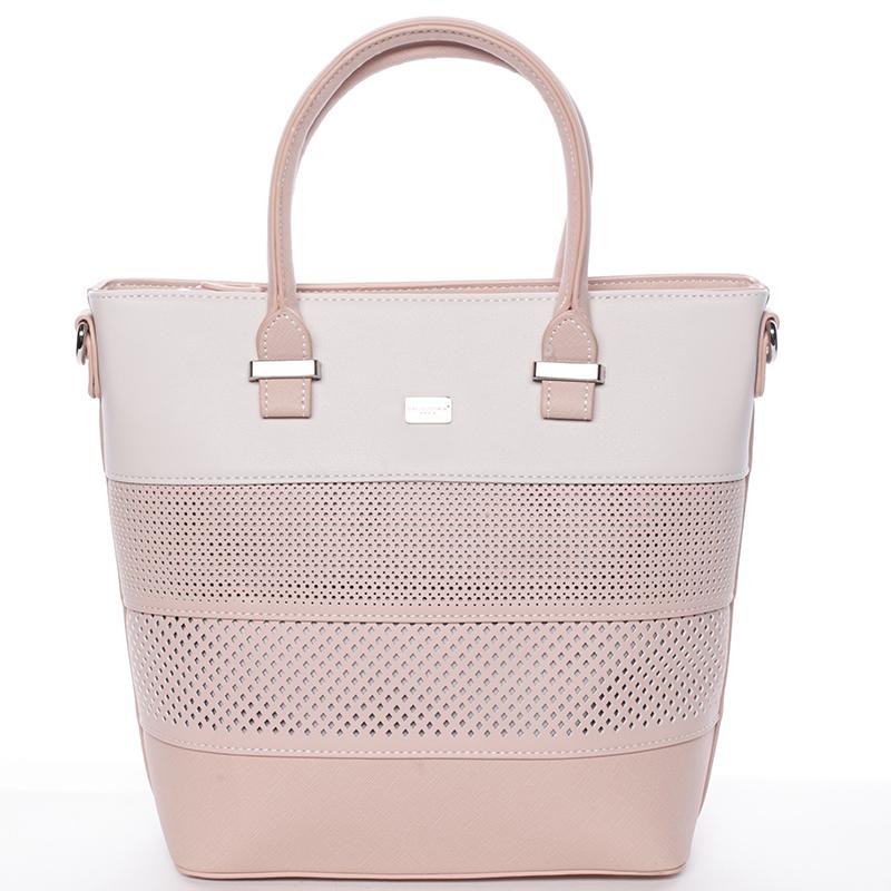 Elegantní dámská růžová perforovaná kabelka - David Jones Ledda