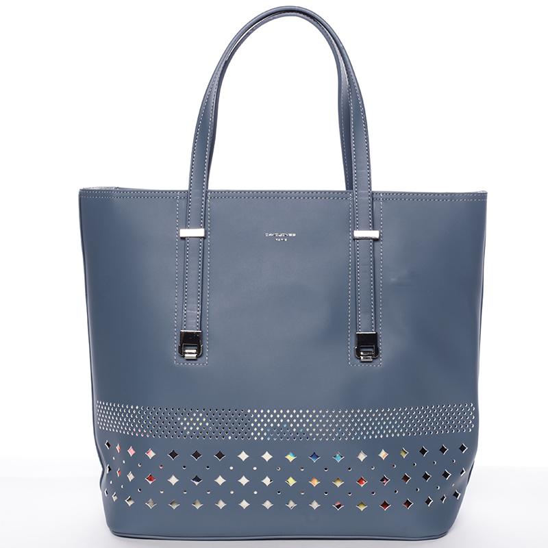 Elegantní perforovaná modrá kabelka s organizérem - David Jones Cambria