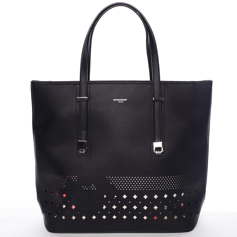 Elegantní perforovaná černá kabelka s organizérem - David Jones Cambria
