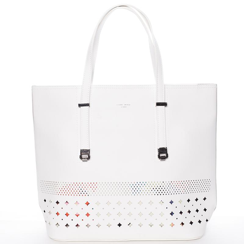 Elegantní perforovaná bílá kabelka s organizérem - David Jones Cambria