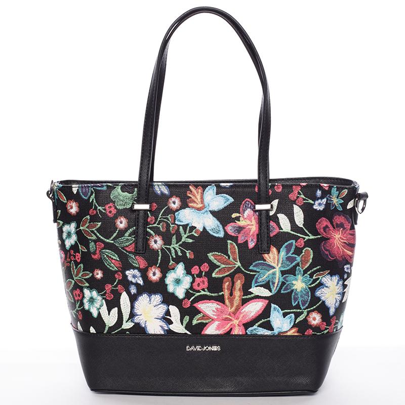 Černá elegantní květinová kabelka - David Jones Blomst