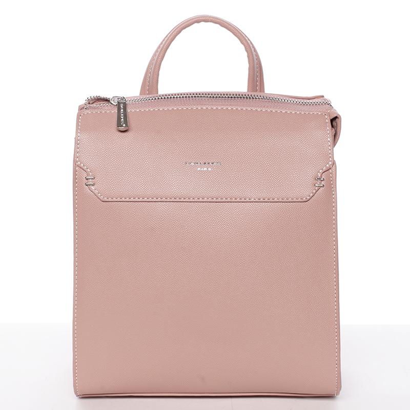 Dámský pevný moderní batoh růžový - David Jones Leandros