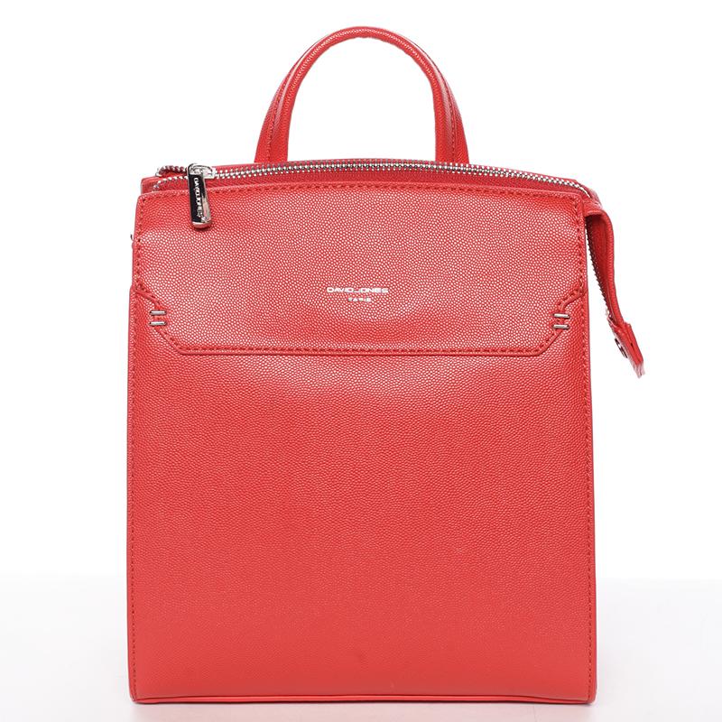 Dámský pevný moderní batoh červený - David Jones Leandros