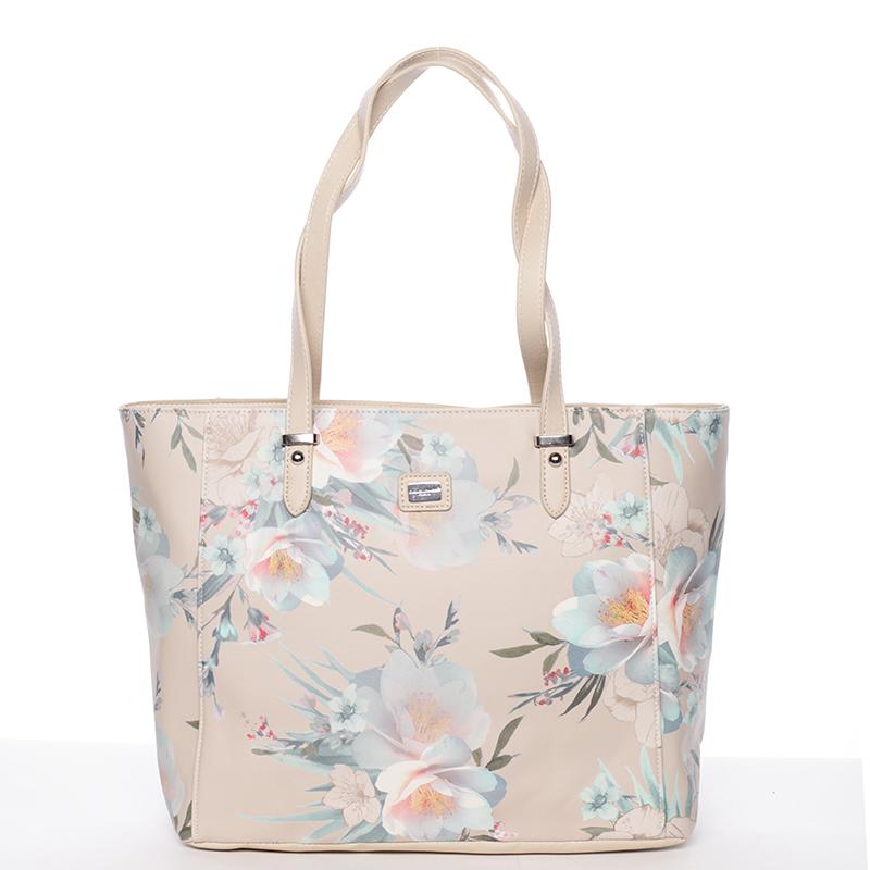 Moderní květinová kabelka přes rameno béžová - David Jones Kimora