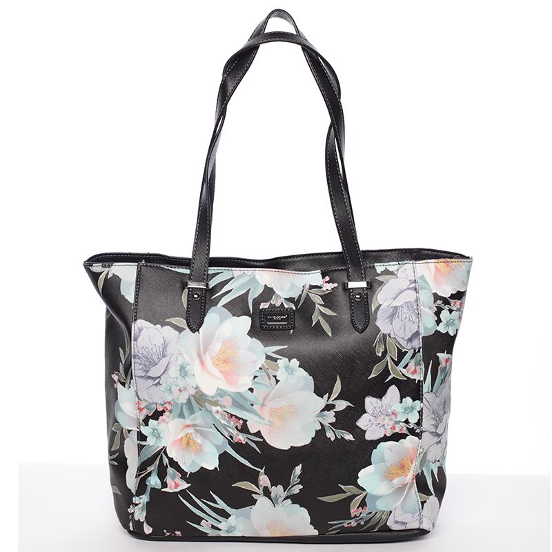 Moderní květinová kabelka přes rameno černá - David Jones Kimora