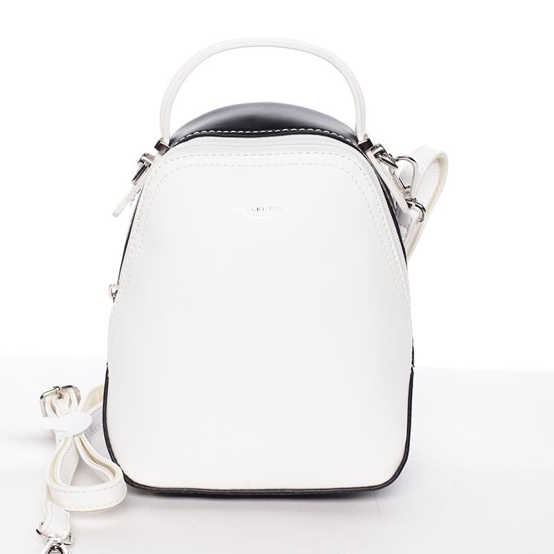 Malý dámský městský batůžek/kabelka bílo černý - David Jones Lefteris
