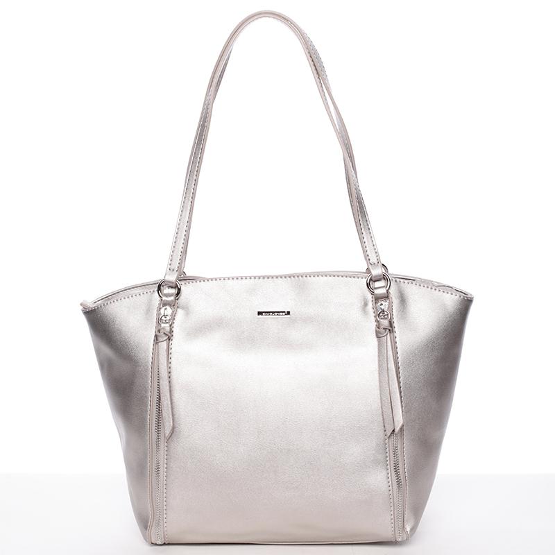 Luxusní dámská kabelka přes rameno stříbrná - David Jones Lenore