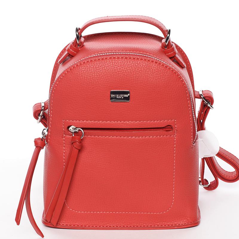 Malý dámský červený městský batůžek/kabelka - David Jones Leonidas