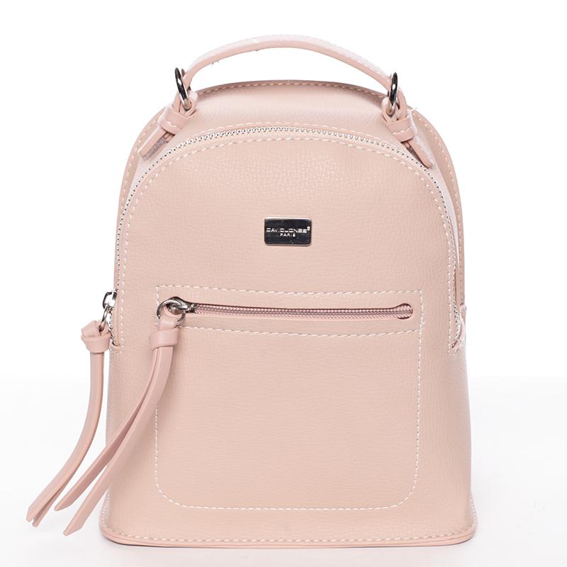Malý dámský růžový městský batůžek/kabelka - David Jones Leonidas