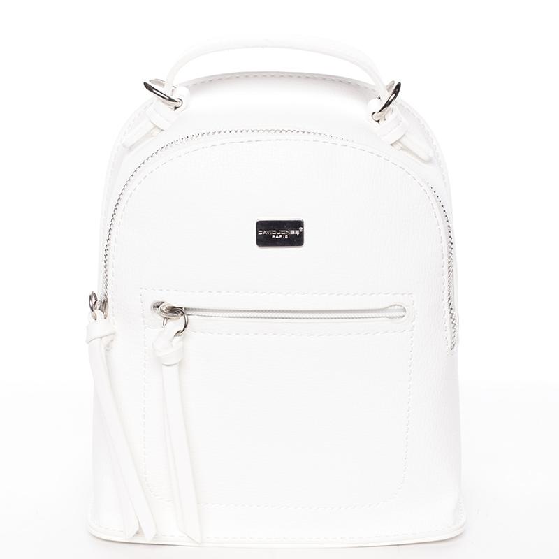 Malý dámský bílý městský batůžek/kabelka - David Jones Leonidas