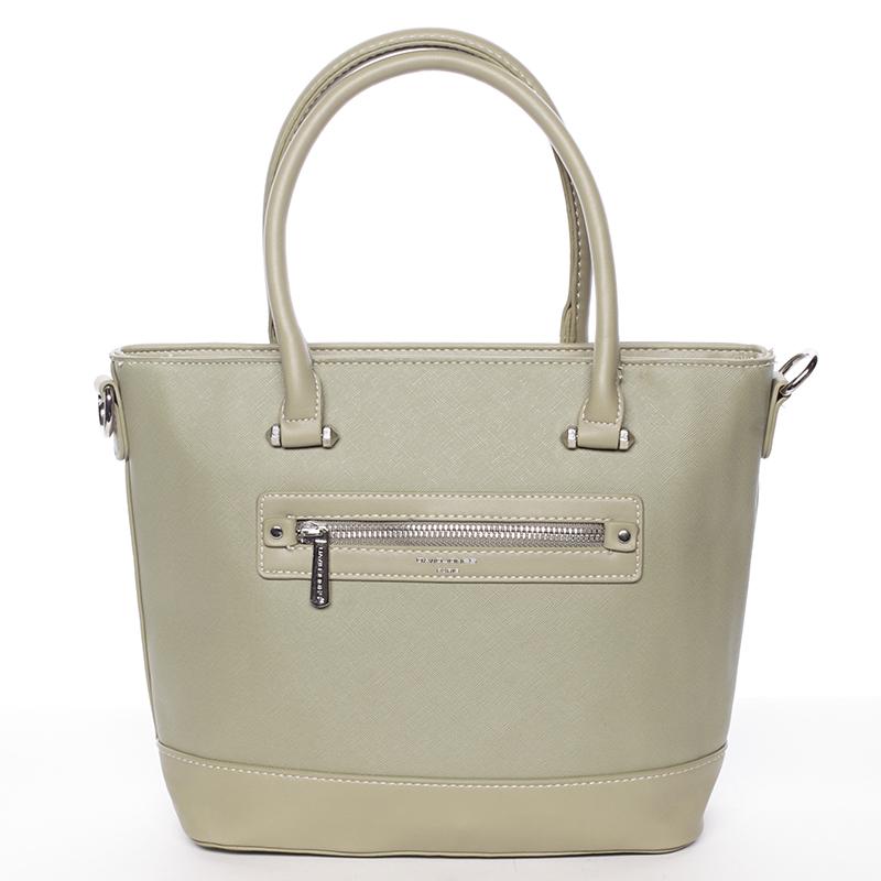 Módní dámská kabelka do ruky olivová saffiano - David Jones Klarisa