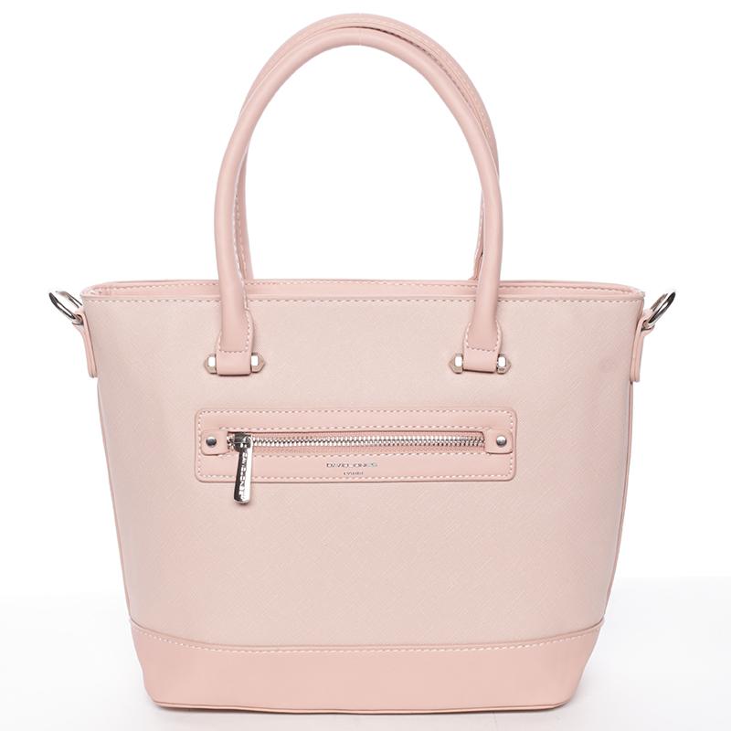 Módní dámská kabelka do ruky růžová saffiano - David Jones Klarisa