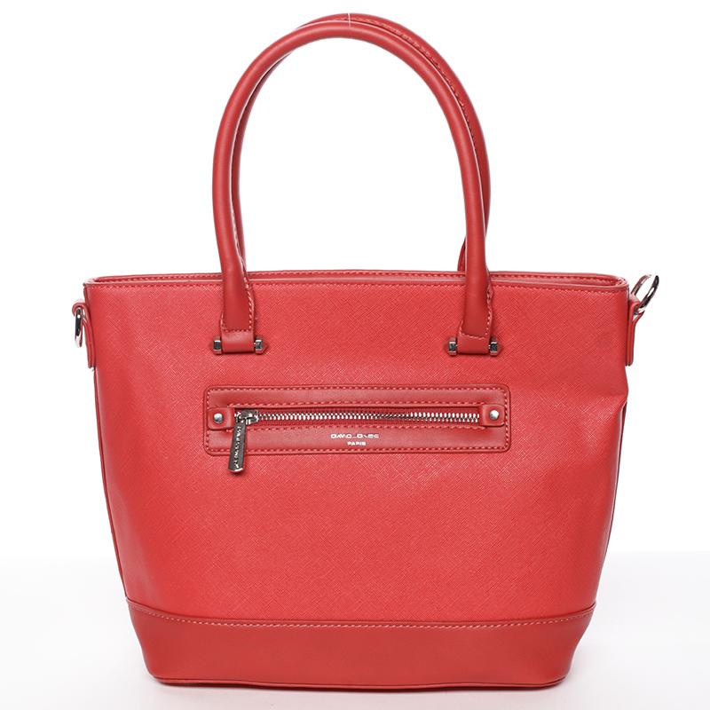 Módní dámská kabelka do ruky červená saffiano - David Jones Klarisa