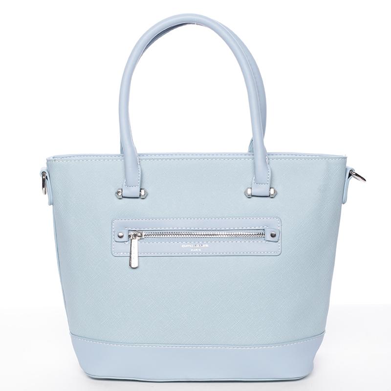 Módní dámská kabelka do ruky světle modrá saffiano - David Jones Klarisa