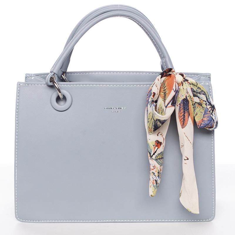 Luxusní světle modrá kabelka do ruky s šátkem - David Jones Ledell