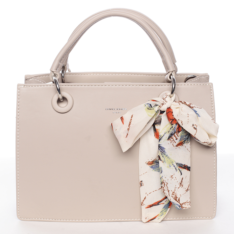 Luxusní béžová kabelka do ruky s šátkem - David Jones Ledell