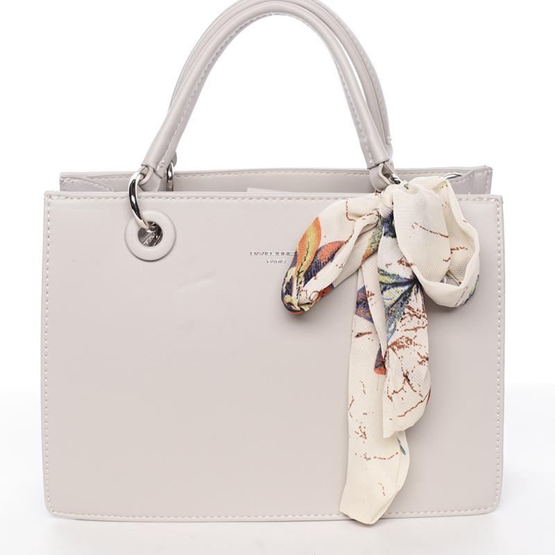 Luxusní světle šedá kabelka do ruky s šátkem - David Jones Ledell