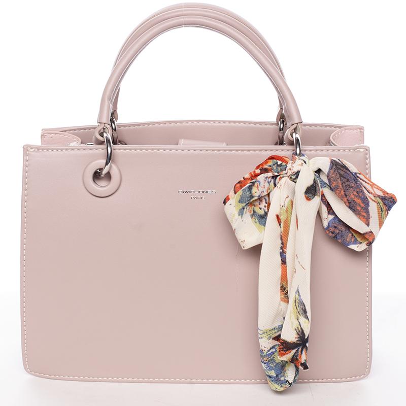 Luxusní růžová kabelka do ruky s šátkem - David Jones Ledell