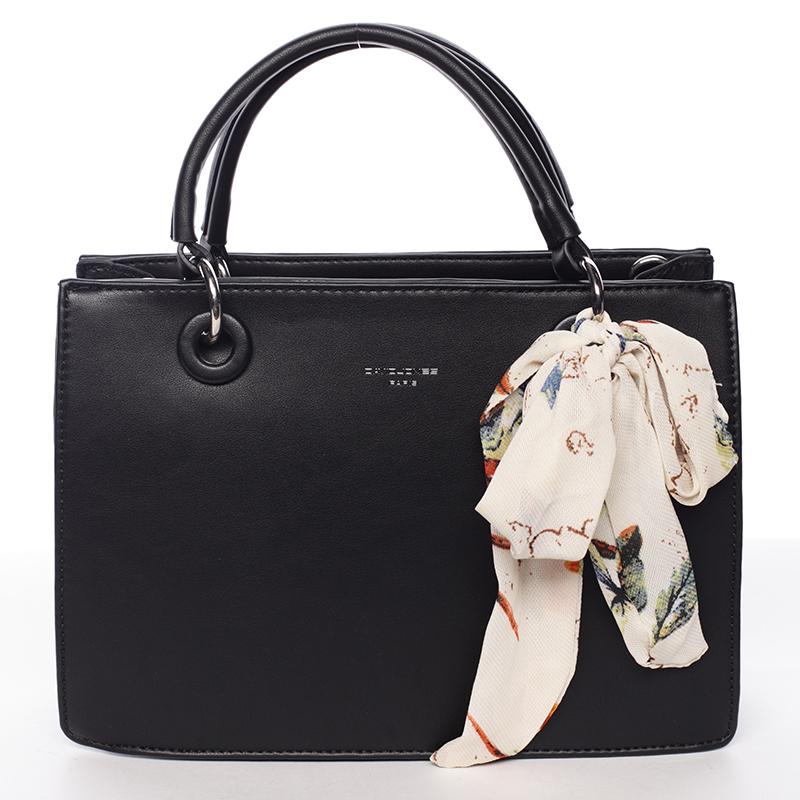 Luxusní černá kabelka do ruky s šátkem - David Jones Ledell