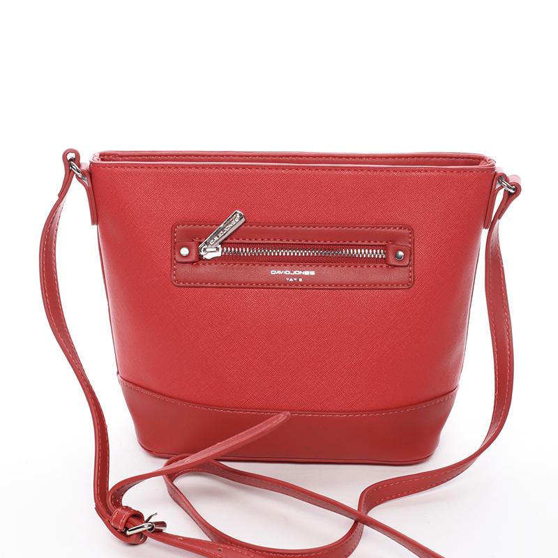 Módní dámská crossbody kabelka červená saffiano - David Jones Larisa
