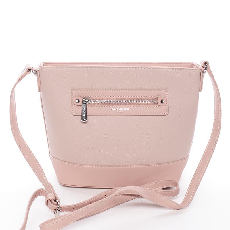 Módní dámská crossbody kabelka růžová saffiano - David Jones Larisa