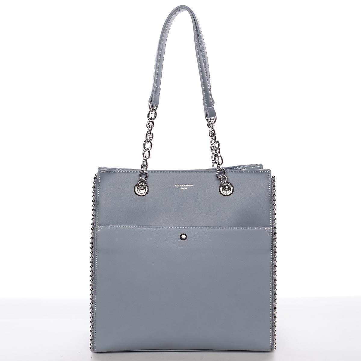 Luxusní a originální dámská pastelově modrá kabelka přes rameno - David Jones Mishel