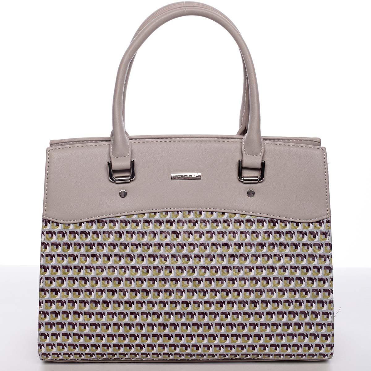 Exkluzivní světle šedá dámská kabelka do ruky - David Jones Kimberly