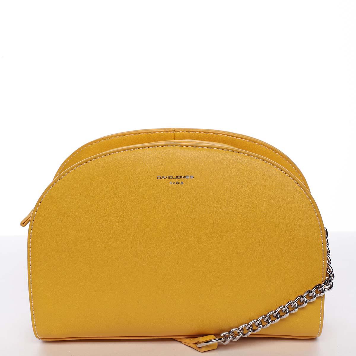 Módní oblá dámská crossbody žlutá kabelka - David Jones Anny
