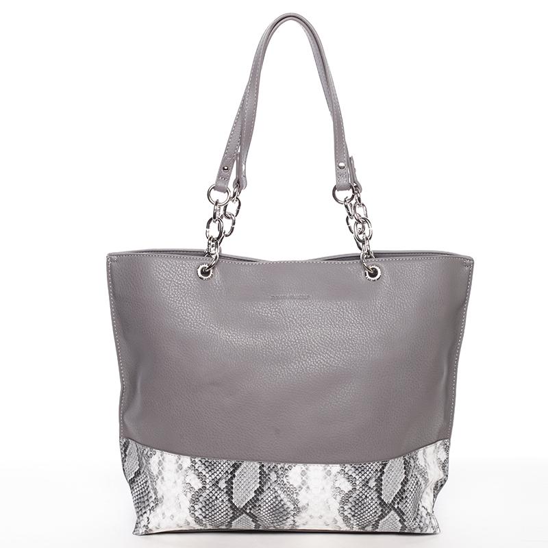 Velká prostorná dámská kabelka tmavě šedá - David Jones Ajoga