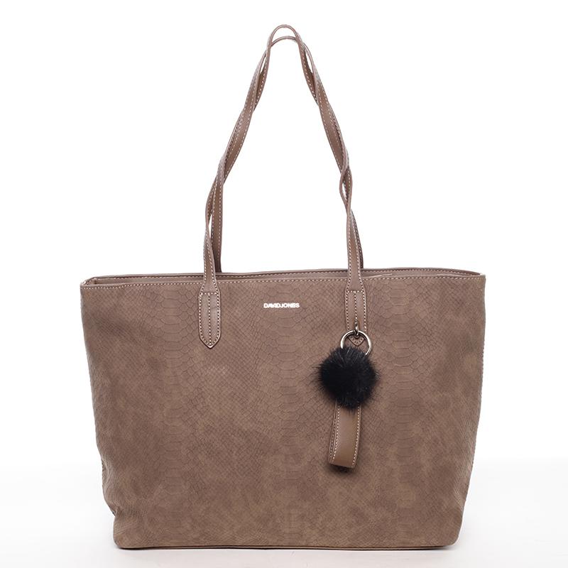Originální velká dámská kabelka přes rameno tmavá taupe - David Jones Ilona