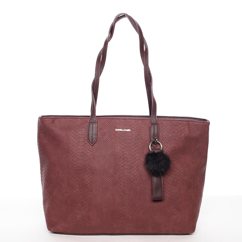 Originální velká dámská kabelka přes rameno vínová - David Jones Ilona