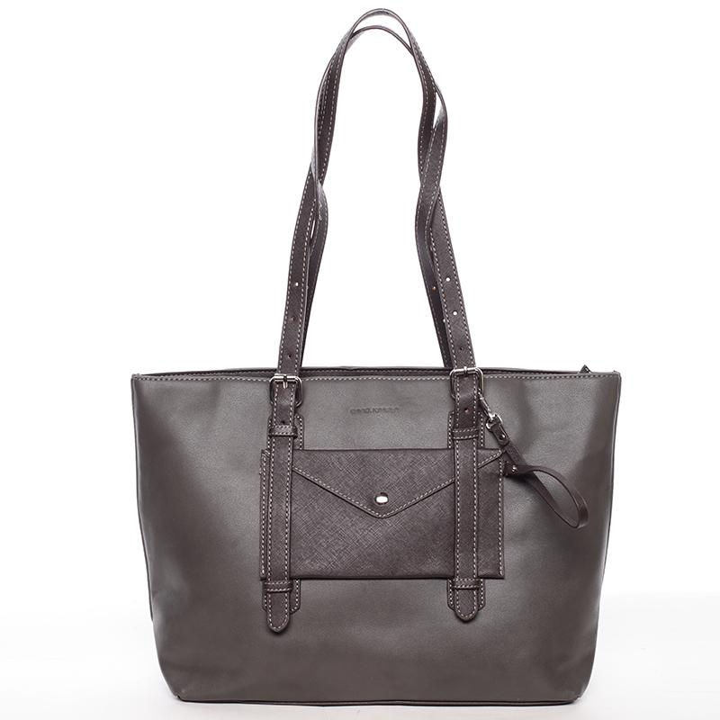 Módní velká dámská kabelka přes rameno tmavě šedá - David Jones Arana