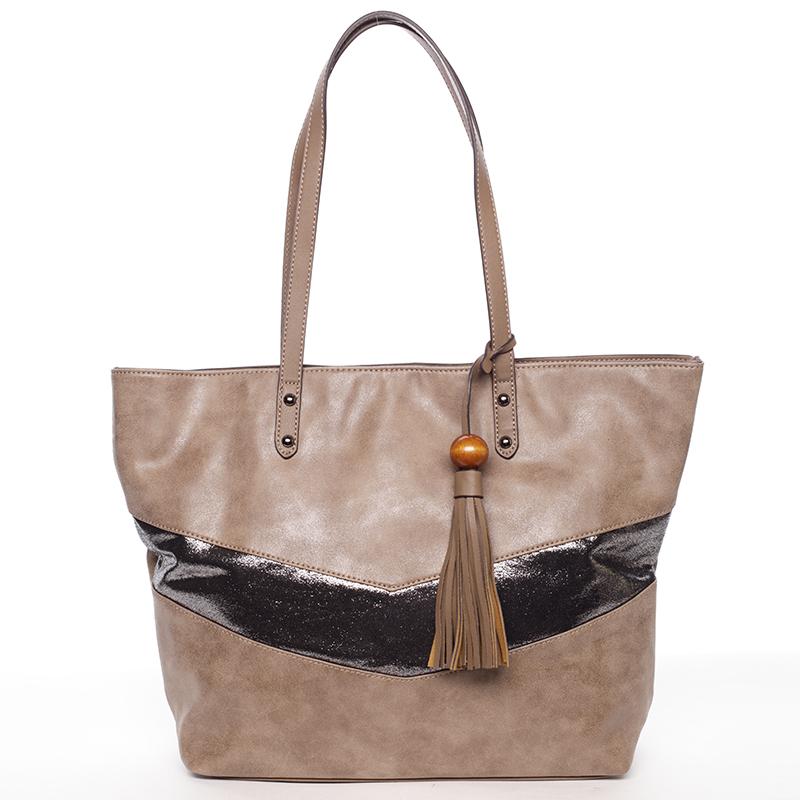 Velká módní trendy kabelka přes rameno tmavá camel - David Jones Chetona