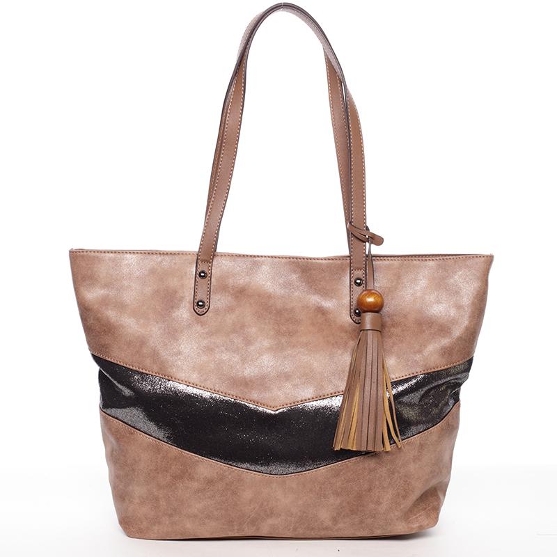 Velká módní trendy kabelka přes rameno hnědá - David Jones Chetona