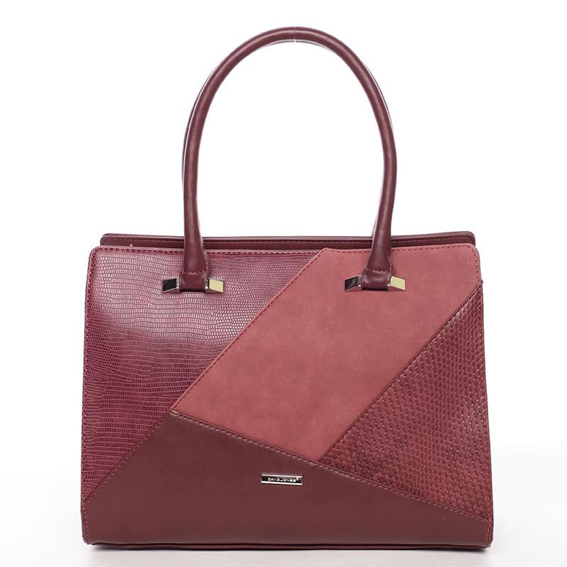 Luxusní vínová dámská kabelka do ruky - David Jones Manileas