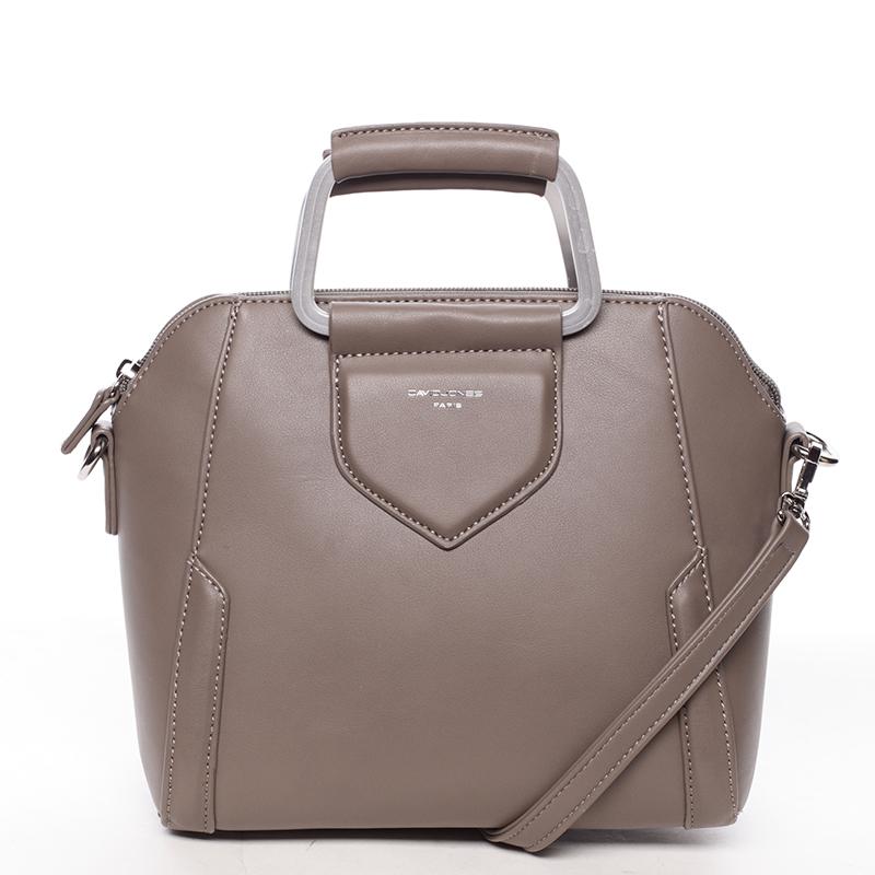 Exkluzivní menší dámská kabelka do ruky tmavá taupe - David Jones Ezuria