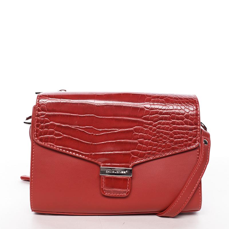 Luxusní dámská crossbody kabelka červená - David Jones Hebbi