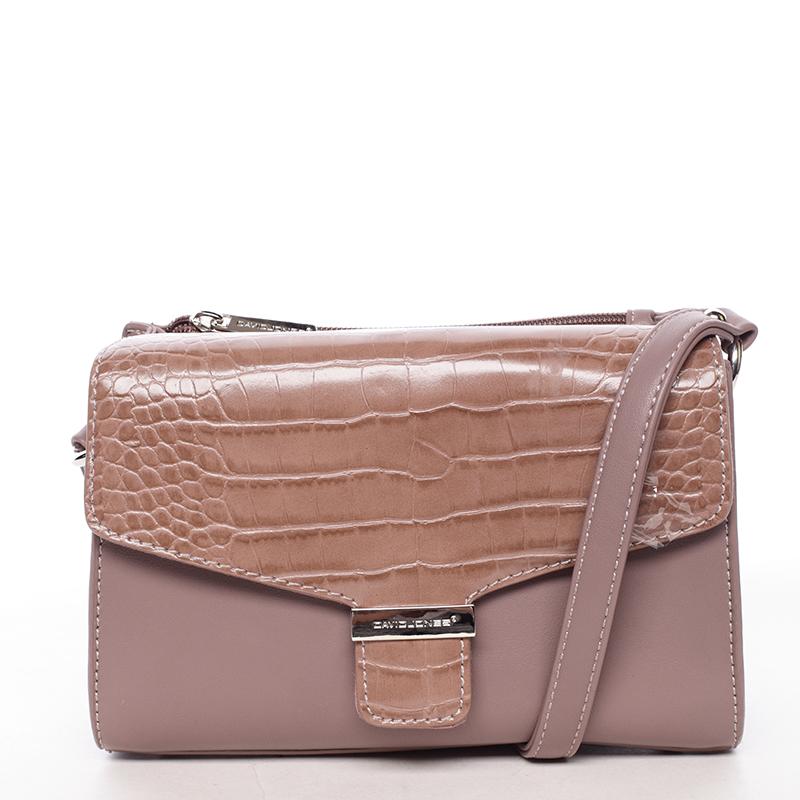 Luxusní dámská crossbody kabelka tmavě růžová - David Jones Hebbi