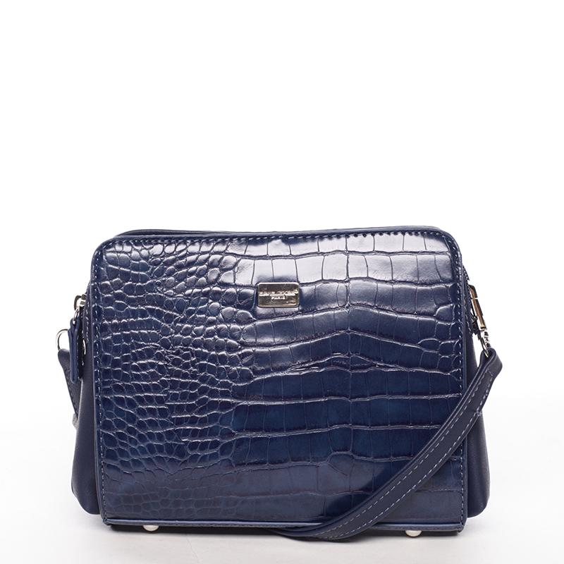 Dámská crossbody kabelka tmavě modrá s hadím vzorem - David Jones Snake