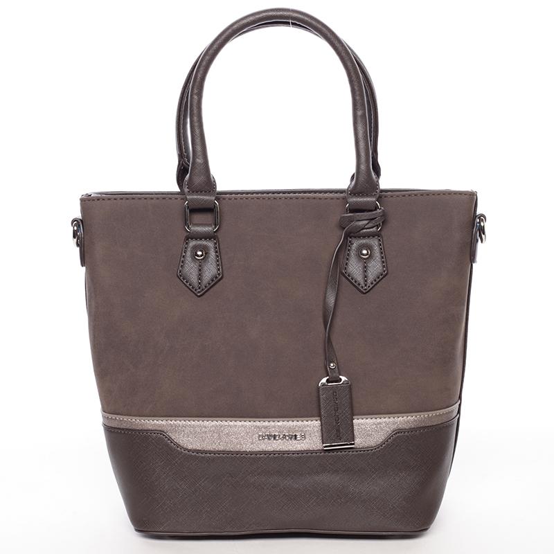 Trendy dámská kabelka do ruky tmavě hnědá - David Jones Teherra