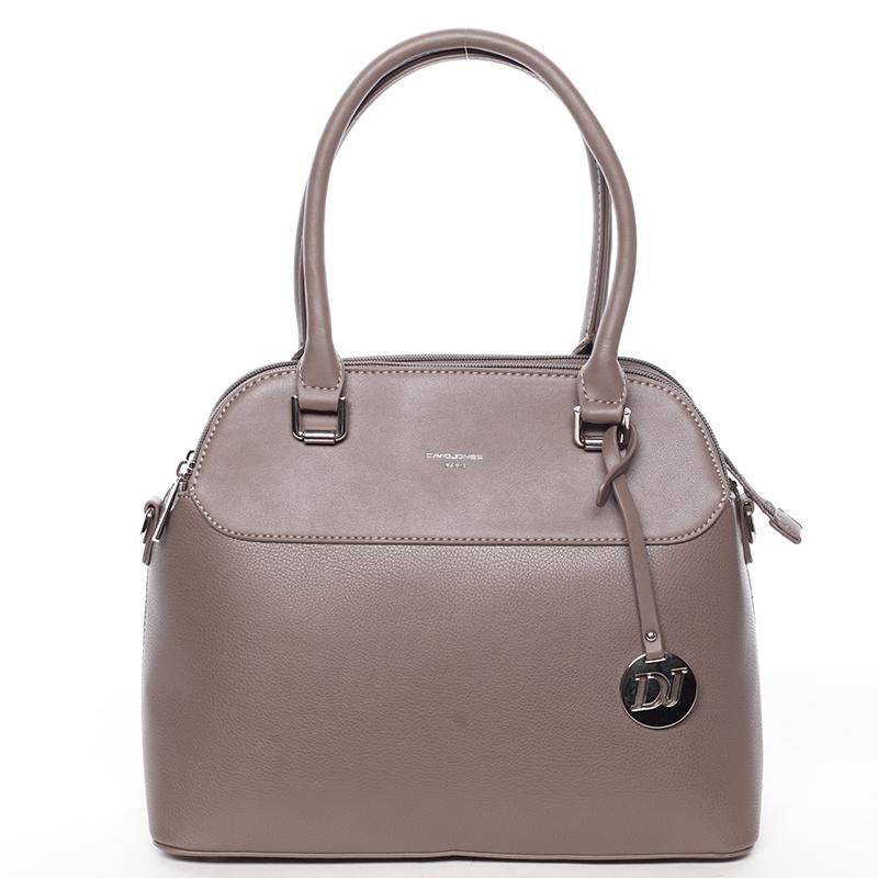 Originální jemná dámská kabelka do ruky tmavá taupe - David Jones Tilianna