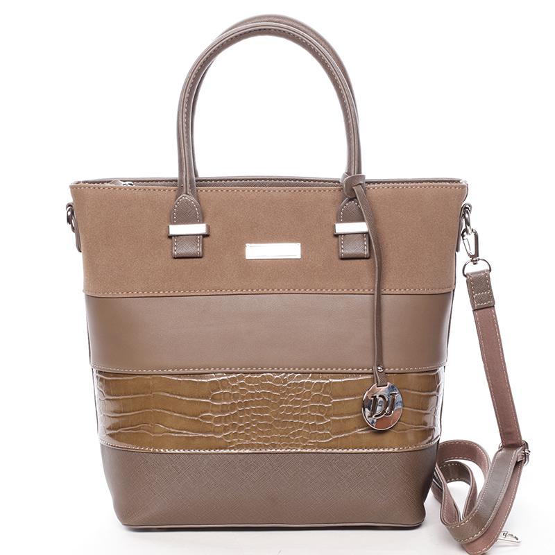 Luxusní dámská kabelka do ruky tmavá taupe - David Jones Osetie