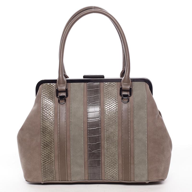 Luxusní tmavá khaki dámská kabelka do ruky - David Jones Jannas