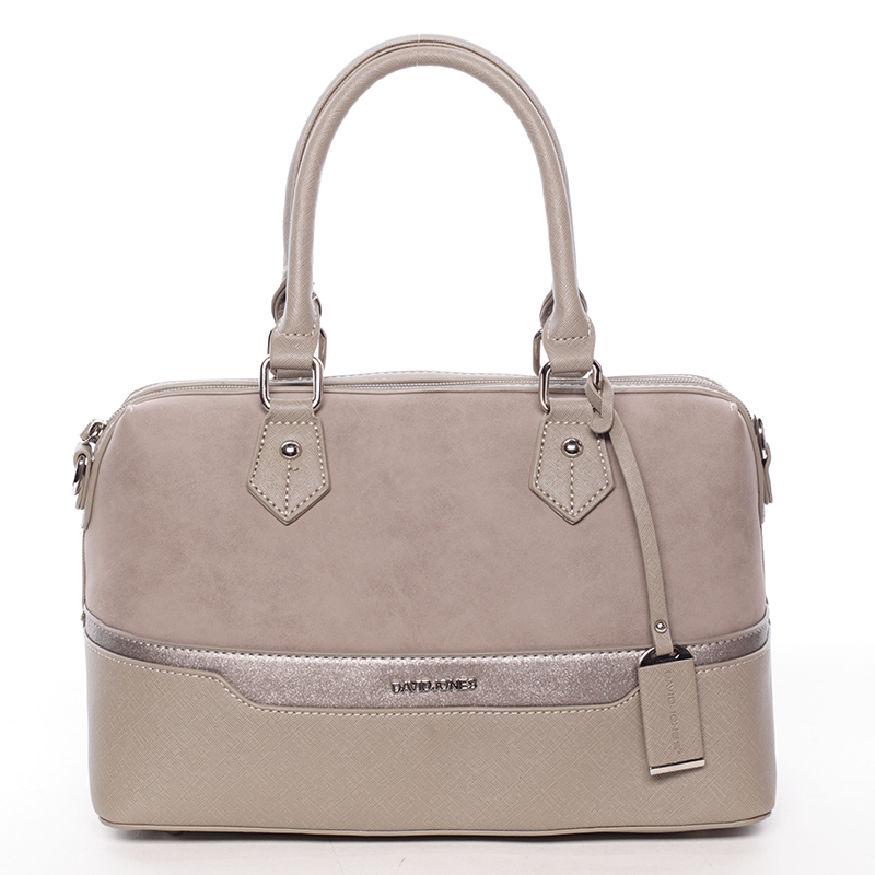 Trendy dámská kabelka do ruky taupe saffiano - David Jones Terray