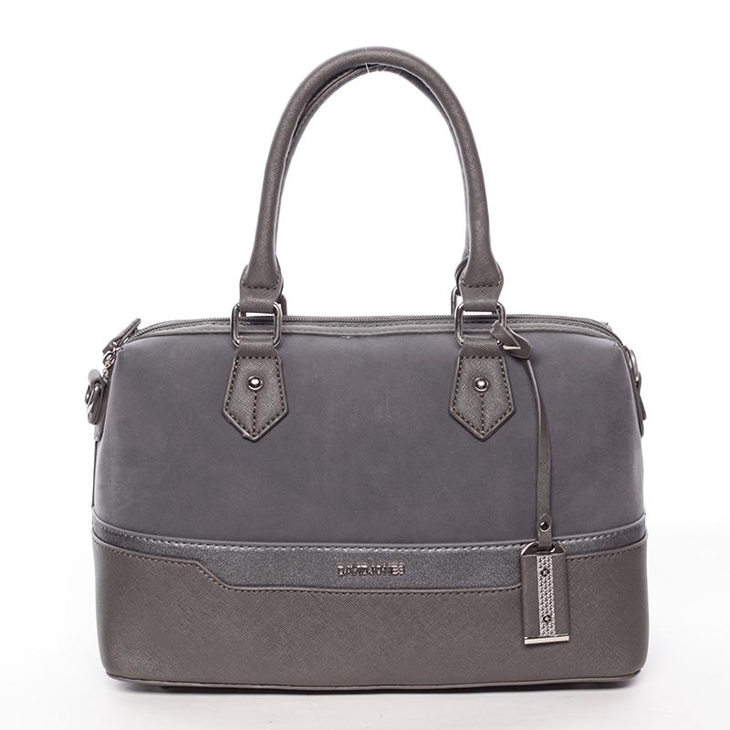 Trendy dámská kabelka do ruky tmavě šedá saffiano - David Jones Terray
