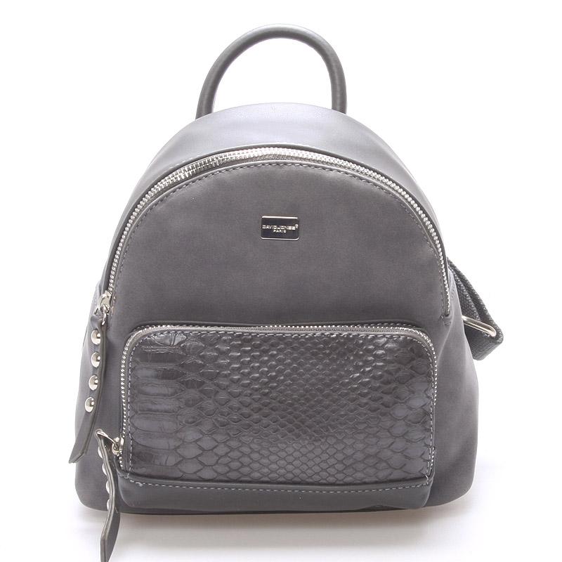 Moderní menší batůžek pro ženy tmavě šedý - David Jones Sakar