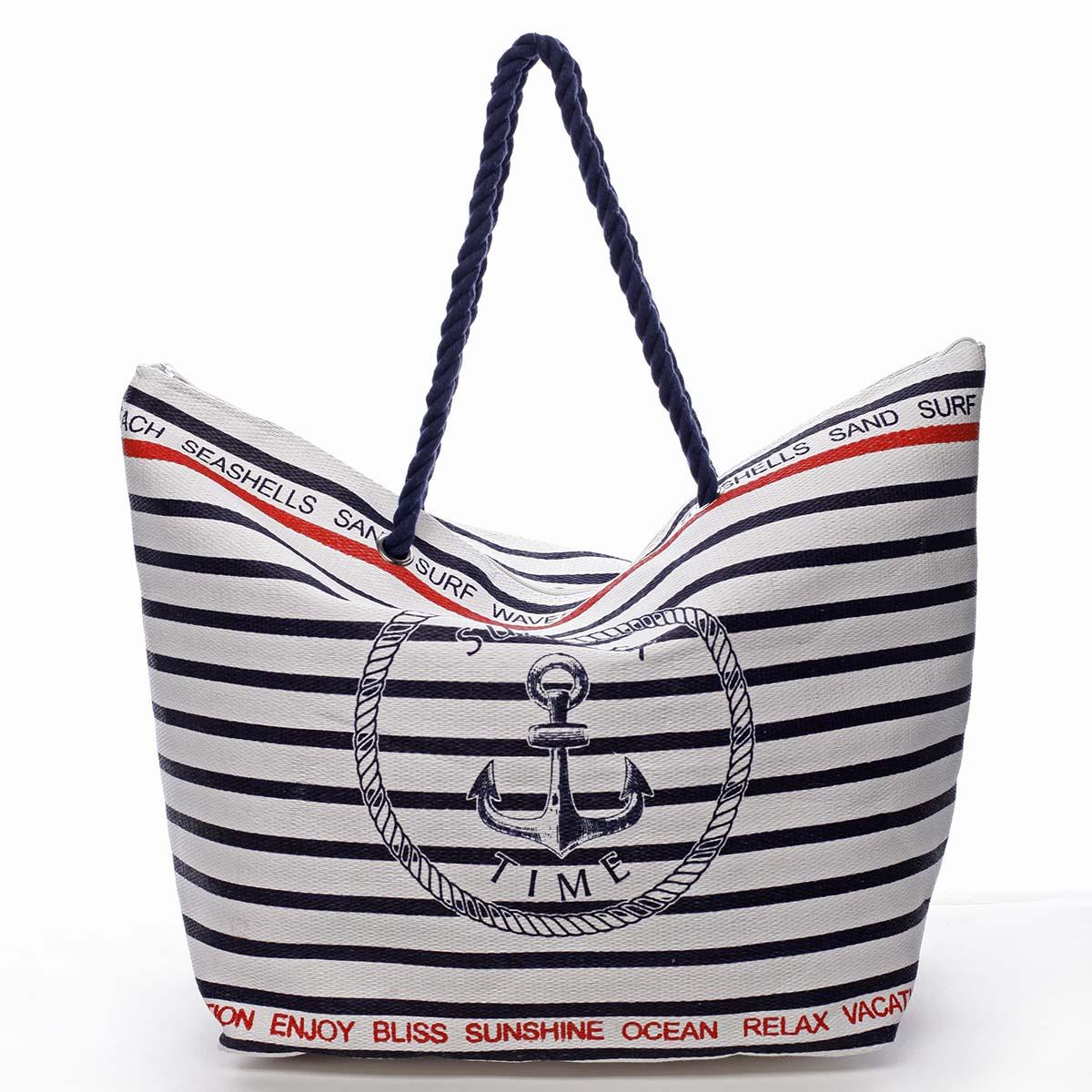 Tmavě modrá pruhovaná plážová taška s logem - Delami Wawes