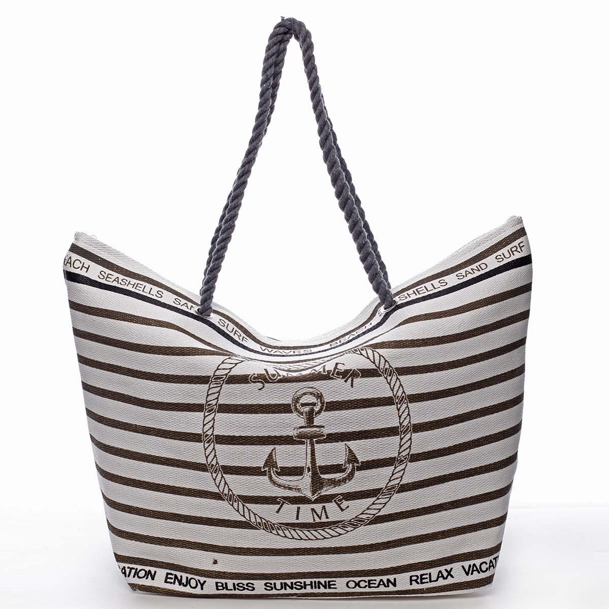 Hnědá pruhovaná plážová taška s logem - Delami Wawes
