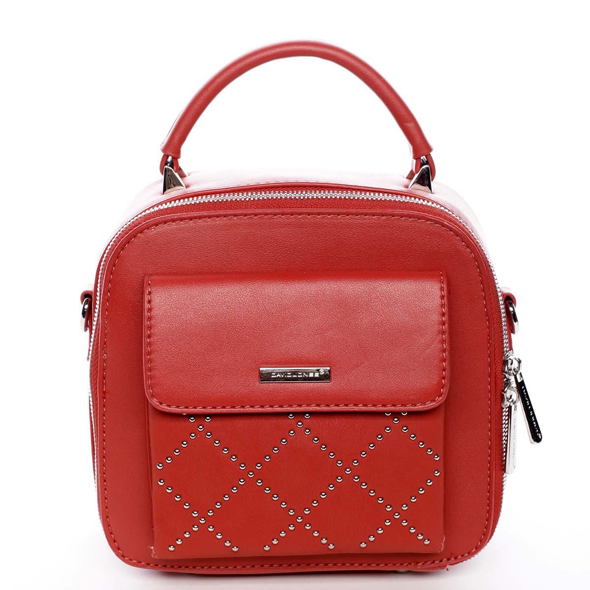 Luxusní malá dámská kabelka do ruky červená - David Jones Stela