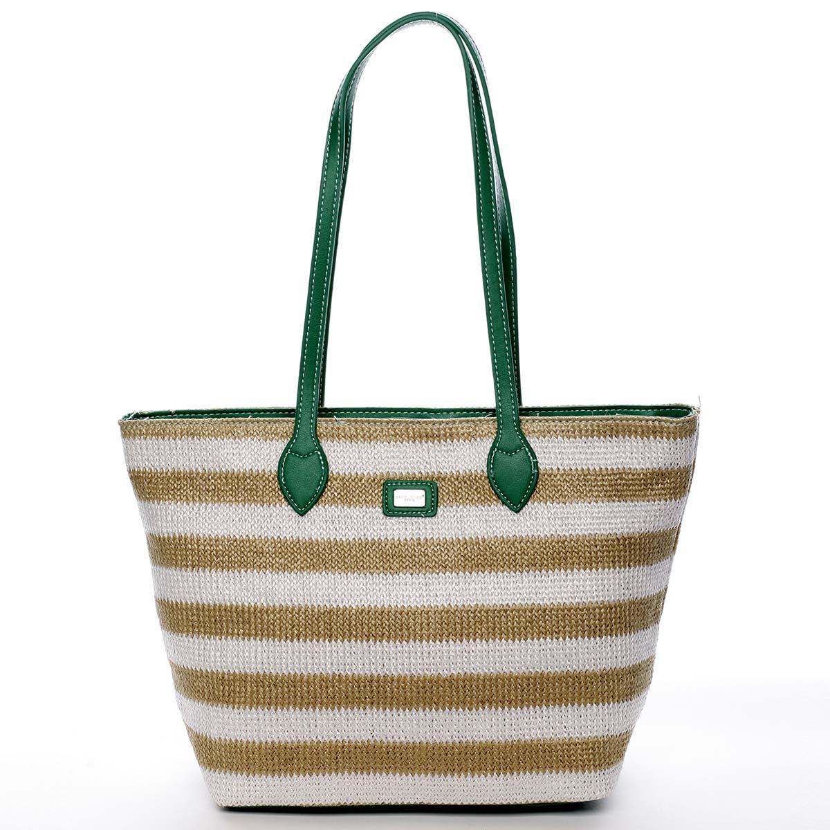 Originální poloslámová kabelka přes rameno mátově zelená - David Jones Nurrse